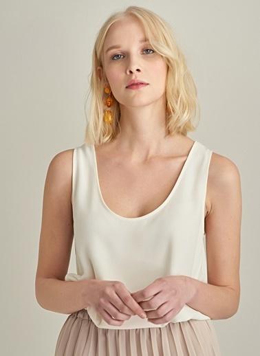 Ng Style Krep Kumaşlı Kolsuz Bluz Ekru